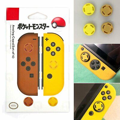 4pcs Analogue Caps Lets Go Pokemon Pikachu Yellow for Nintendo Switch Joy-con