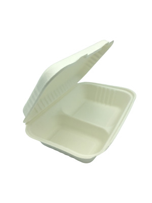 "Bagasse Biodegradable Sugarcane Takeaway Food Container Tray 9x6"" 2 Compartments"