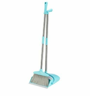 Broom and Dustpan Set Treelen Broom with Dust Pan with Long Handle Combo - BLUE