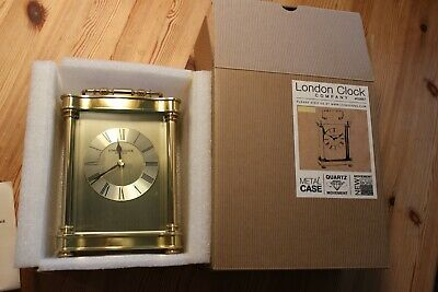 London Clock Company Roman Dial Carriage Clock 03067 in  Gold Finish
