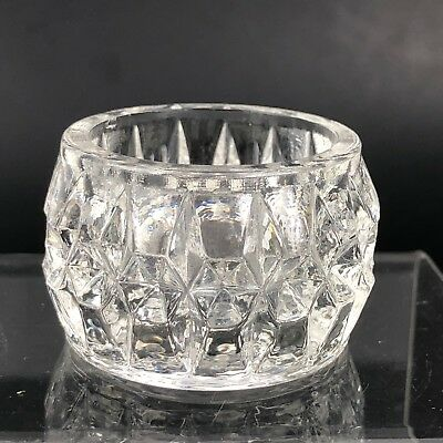 VTG Antique Open Salt Cellar Dip EAPG Open Dish GLASS Pattern Pressed Diamond