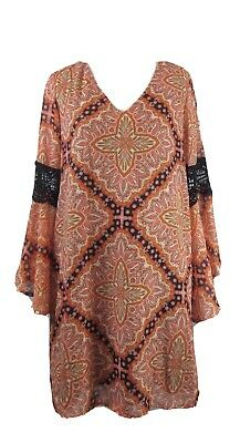 Paper Crane Orange Multi Color Bell Sleeve V Neck Shift Dress XS