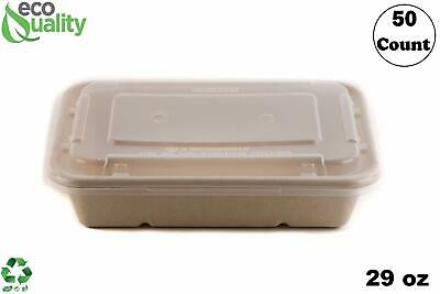 22oz Compostable Eco Friendly Container Trays with Lids [50-300 Pcs, 500-950ml]