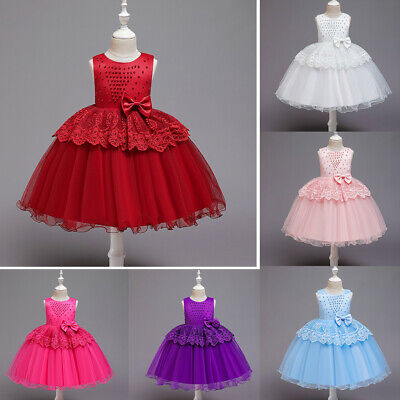 Toddler Baby Kid Girls Patchwork Ruffles Tulle Lace Party Dress Princess Dresses