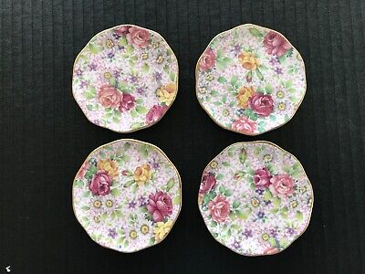 Beautiful Set of 4 Chintz Butterpat Butter Pat England Pink Roses
