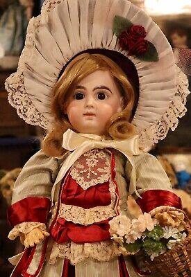 "Antique C1890 21"" German Bisque Closed Mouth Wilhelm Dehler French Market Doll"
