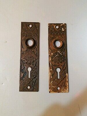 Ornate Antique Cast Iron Door Knob & Key Hole Lock Plates MATCHING PAIR MARKED