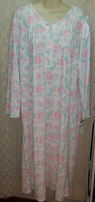 Miss Elaine Large L Long Sleeve Warm! CuddleKnit Nightgown Pink/Green Floral NWT