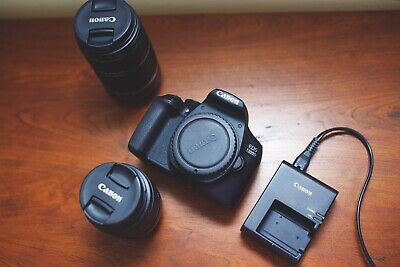 Canon Rebel T6 1300D 18-55mm 55-250mm Charger And Battery