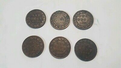 Lot of 6 One Cent Canada 1876H 1882H 1887 (2) 1893 1900