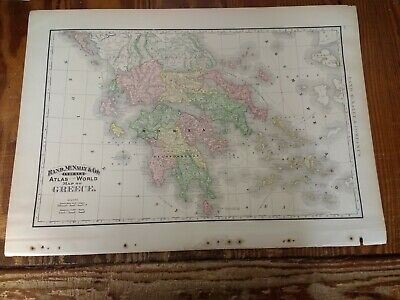 Large Format 1894 Map Of Greece - Nice Colors - Railroads Shown