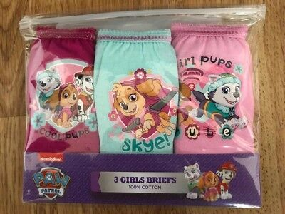 Girls Paw Patrol 3 Pack Pants Knickers Briefs Age 2-3 yrs Cotton