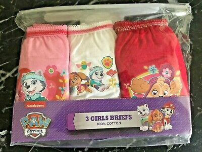 Girls Paw Patrol 3 Pack Pants Knickers Briefs Age 3-4 yrs Cotton Pink White Red