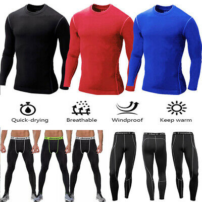 Mens Boys Body Armour Compression Baselayers Thermal Under Shirt Top Skins Pants