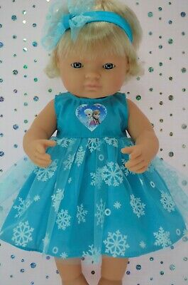 Dolls Clothes For 38cm Miniland Doll AQUA SNOWFLAKE DRESS~HEADBAND