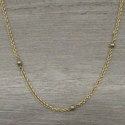 14k Yellow Gold Jewelry Beaded French Twist Rope Chain Necklace Missing Clasp