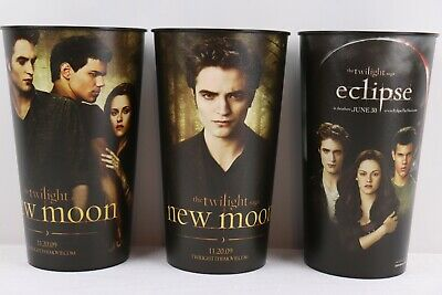 Twilight Tumblers Set of 3 New Moon and Eclipse Movie Collectible Great Cond.