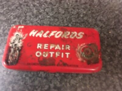 Vintage Halfords Repair Kit Tin 1950s Red Good Hinges
