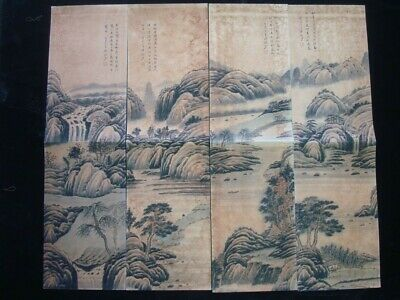 """4PCS Very Large Old Chinese Hand Painting Landscape """"LuYanShao"""" Marks"""