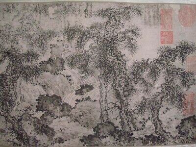 """Beautiful Long Old Chinese Scroll Hand Painting Landscape """"HeHao"""" Mark"""