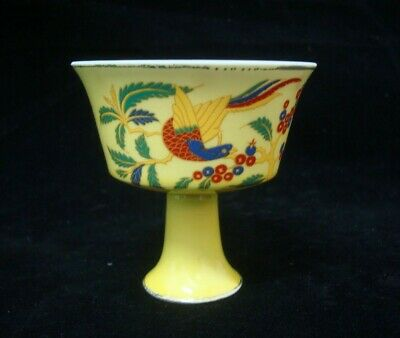 "Chinese Old Yellow Glaze Painting Flowers Porcelain Cup ""ChengHua"" Mark"