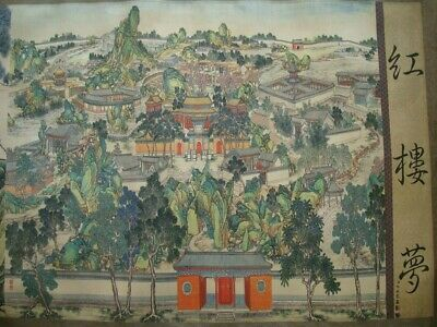 """Very Long Old Chinese Scroll Hand Painting """"HongLouMeng"""" """"LengMei"""" Marks"""