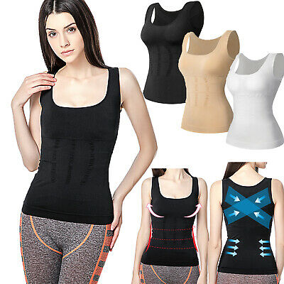 Women Tummy Control Body Shaper Genie Bra Cami Tank Tops Slimming Vest Shapewear