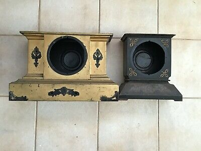 2 Antique 1900s Ansonia USA Cast Iron Mantel Clock Cases - Pick-up Only