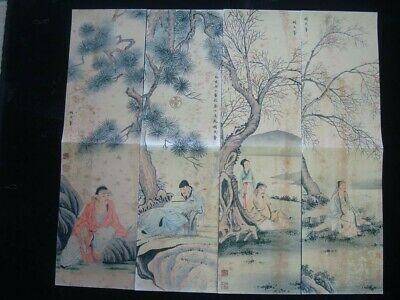 """4Pcs Very Large Old Chinese Hand Painting Figures """"HuChengRong"""" Marks"""