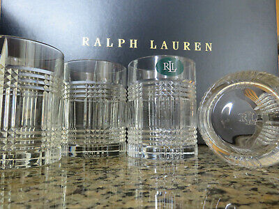 RALPH LAUREN Glen Plaid Double Old Fashioned Whiskey Crystal Glass Set of 4