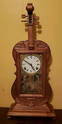 Vintage Violin Mantle Clock ~In the Style of Seth Thomas~