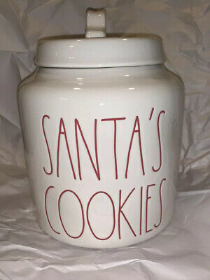 "Rae Dunn ""SANTA'S COOKIES"" Canister White Red Letters LL Christmas Cookies"