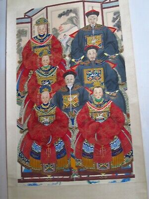 Vintage Chinese Scroll Of Emperor/Family
