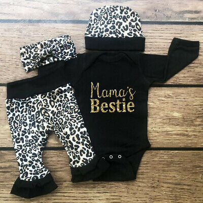 Newborn Infant Princess Baby Girls Outfits Clothes T-shirt Tops+Leopard Leggings