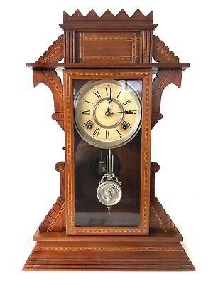 Beautiful Waterbury Antique 8 Day American Strike Shelf Clock - Inlay Case