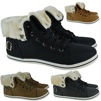 Womens Ladies Flat Warm Faux Fur Lined Ankle Combat Sport Trainers Boots Size Uk