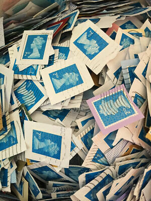 100 USED FRANKED  2nd CLASS SECURITY BLUE GB POSTAGE STAMPS NO UNFRANKED