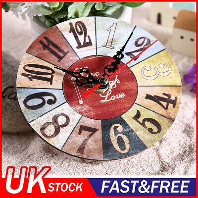 Vintage Wooden Wall Clock Large  Shabby Chic Rustic Kitchen Round 2 /KT