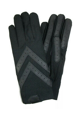 Isotoner Women's Spandex Stretch Shortie Leather Palm Gloves BLK XL