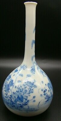 Antique Asian Vase Long Neck Bulbous Base Very Thin Pottery W/ Blue Bird
