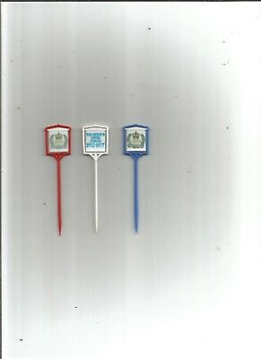 very rare the queen's silver jubilee red,white and blue cocktail sticks