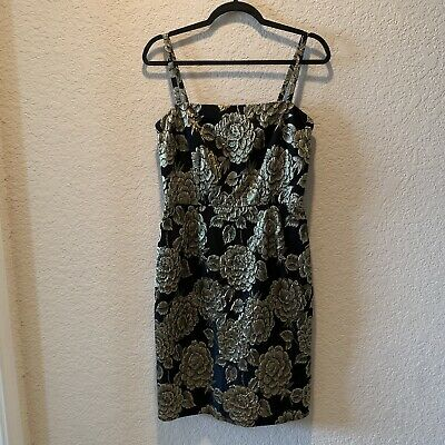 Dolce and Gabbana, women, black and gold floral, cocktail party dress, size 42