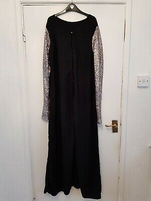 Women's Handmade Black With Silver Sequined Sleeves Open Abaya Jacket Size...