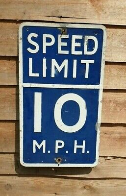 Vintage Road Warning Sign 10 Mph Speed Limit