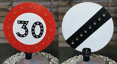 PreWarboys Rare Double Sided 30mph Old Road Sign with Glass Fruit Gum Reflectors
