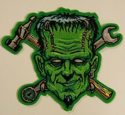 "Gearhead~Mechanic~Frankenstein~Embroidered PATCH~4 7/8"" x 5 1/4""~Iron or Sew On"