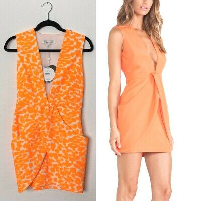 Finders Keepers Paper Ships Mini Dress Orange Neon XS Leopard Stretch Plunging 2