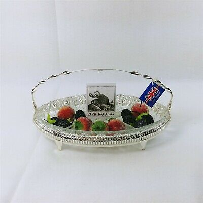 Serving Tray Divided Glass with Queen Anne Silver Plated Footed Caddy 12in
