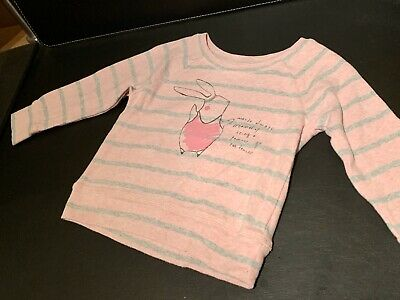 Next Toddler Girl Light Pink & Grey Striped Jumper 1.5-2 Years