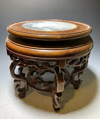 Vintage Chinese Marble & Carved Wood Stand Display For Vase & Works Of Art